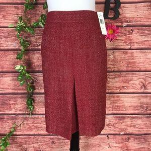 Jones New York Skirt size 14 Brick Red Tweed Knee
